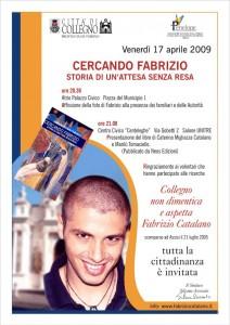"""Locandina presentazione del libro """"Cercando Fabrizio"""" a Collegno"""